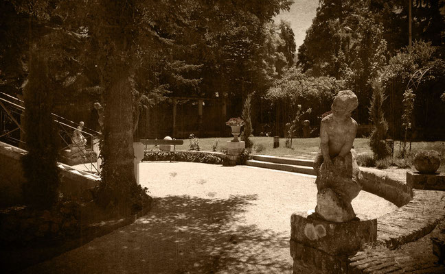 Foto jardín retocada años 20