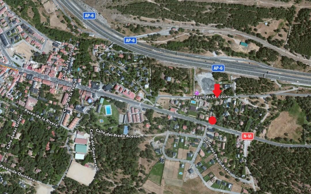 Acceso con coche donde la flecha. Entorno medio Vista Aerea Villa Angeles San Rafael